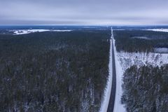 Drone photography of winter forest and road royalty free stock image