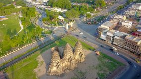 Drone photos of Phra Prang Sam Yod Pagoda. In Lopburi of Thailand. Religious buildings construct by ancient Khmer art Stock Photos
