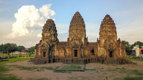 Drone photos of Phra Prang Sam Yod Pagoda. In Lopburi of Thailand. Religious buildings construct by ancient Khmer art Royalty Free Stock Photography