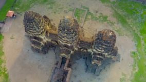 Drone photos of Phra Prang Sam Yod Pagoda. In Lopburi of Thailand. Religious buildings construct by ancient Khmer art Royalty Free Stock Image