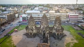 Drone photos of Phra Prang Sam Yod Pagoda. In Lopburi of Thailand. Religious buildings construct by ancient Khmer art Stock Image