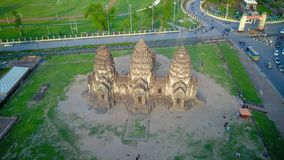 Drone photos of Phra Prang Sam Yod Pagoda. In Lopburi of Thailand. Religious buildings construct by ancient Khmer art Royalty Free Stock Photo