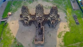 Drone photos of Phra Prang Sam Yod Pagoda. In Lopburi of Thailand. Religious buildings construct by ancient Khmer art Stock Photography