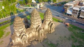 Drone photos of Phra Prang Sam Yod Pagoda. In Lopburi of Thailand. Religious buildings construct by ancient Khmer art Stock Images