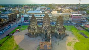 Drone photos of Phra Prang Sam Yod Pagoda. In Lopburi of Thailand. Religious buildings construct by ancient Khmer art Stock Photo