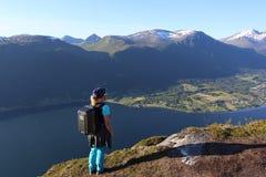 Drone pilot girl an Norway mountains Stock Photos