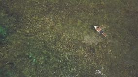 Drone point of view, A man surfer paddling over transparent sea, back view.