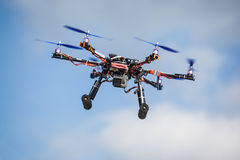 Drone. Professional carbon drone with GPS and video camera making a ride stock images