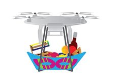 Drone with Purim Jewish holiday treats basket Royalty Free Stock Images
