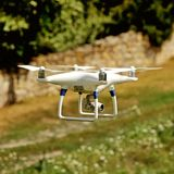 Drone quad copter with digital camera Royalty Free Stock Image