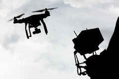 Drone quad copter flying. Stock Image