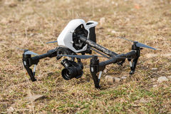 Drone quad copter on ground Stock Images