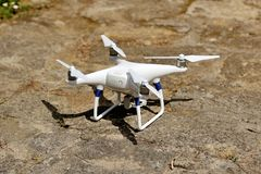 Drone quad copter with digital camera Stock Images