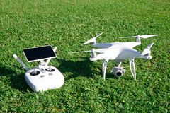 Drone quad copter with high resolution digital camera stock images