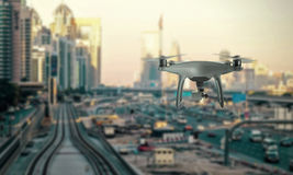 Drone quad copter recorded traffic in city Royalty Free Stock Images