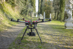 Drone Quadcopter in the Alley Stock Images