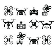Drone quadcopter with camera and controller icons set Stock Photos