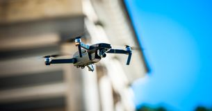 Drone quadcopter with digital camera. Against the sky royalty free stock photos