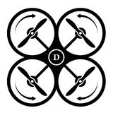 Drone quadcopter direction of rotation black symbol Royalty Free Stock Photography