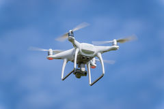 Drone quadcopter in flight Stock Images