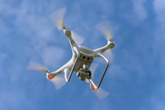 Drone quadcopter in flight Royalty Free Stock Photos