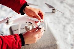 Drone quadcopter installing details - uav hobby concept stock photos