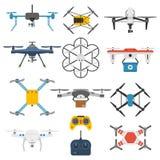 Drone quadcopter vector set. Stock Photos