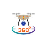 Drone quadrocopter with 360 degree panoramic camera icon vector, solid logo illustration, pictogram isolated on white. Drone quadrocopter with 360 degree Royalty Free Stock Photography