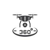 Drone quadrocopter with 360 degree panoramic camera icon vector,. Solid logo illustration, pictogram isolated on white Stock Image
