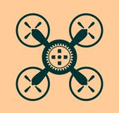 Drone quadrocopter icon. Cog wheel symbol Royalty Free Stock Image