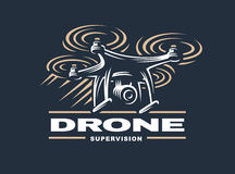 Drone quadrocopter logo design, dark background Stock Image