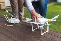 Drone quadrocopter Phantom 3 Professional. St. Petersburg, Russia - May 4, 2016: Drone quadrocopter Phantom 3 Professional with high resolution camera designed Royalty Free Stock Images