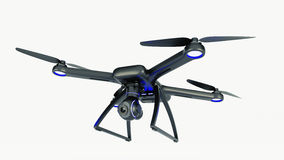 Drone, quadrocopter, with photo camera flying in the blue sky. Royalty Free Stock Image