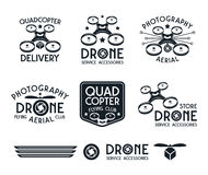 Drone or quadrocopter set of vector badges Royalty Free Stock Photos
