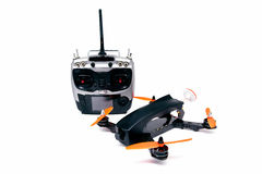 Drone racing FPV quadrotors black color and radio control stock images