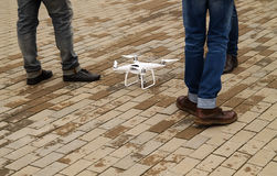 Drone ready for flight. Drone stands on the ground ready for flight stock image