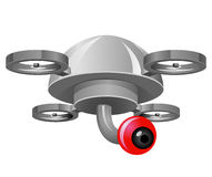 Drone with Red Eye camera. Vector drawing of a drone with a camera that looks like an eye royalty free illustration