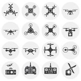 Drone related icons set on background for graphic and web design. Simple illustration. Internet concept symbol for. Website button or mobile app royalty free illustration