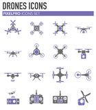 Drone related icons set on background for graphic and web design. Simple illustration. Internet concept symbol for. Website button or mobile app stock illustration