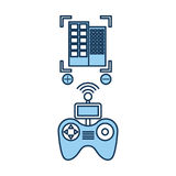 Drone remote control with builbing Royalty Free Stock Photos