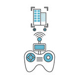 Drone remote control with builbing Stock Photo