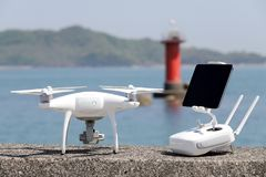 Drone and remote controller Stock Photo