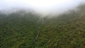 Drone Rises over Tropical Woods with River and Distant Fog. Drone rises over pictorial thick tropical woods with mountain river in gorge and distant deep fog stock video footage