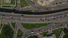 Drone\'s Eye View - Aerial top down view of urban traffic jam on bridge. Aerial road view of traffic jam on a car bridge royalty free stock images