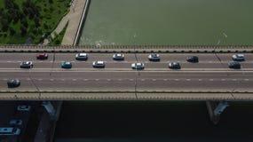 Drone\'s Eye View - Aerial top down view of urban traffic jam. Aerial road view of traffic jam on a car bridge royalty free stock photo