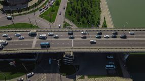 Drone\'s Eye View - Aerial top down view of urban traffic jam. Aerial road view of traffic jam on a car bridge stock images