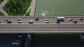 Drone\'s Eye View - Aerial view of urban traffic jam on city bridge. Aerial road view of traffic jam on a car bridge stock photography