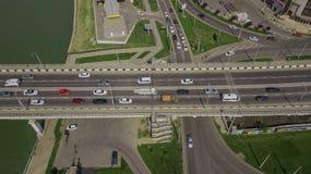 Drone\'s Eye View - Birds eye view of urban traffic jam on bridge. Aerial road view of traffic jam on a car bridge royalty free stock image