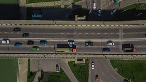 Drone\'s Eye View - Directly above view of urban traffic jam on bridge. Aerial road view of traffic jam on a car bridge royalty free stock photos