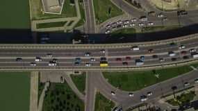 Drone\'s Eye View - Top down view of urban traffic jam on bridge. Aerial road view of traffic jam on a car bridge royalty free stock images